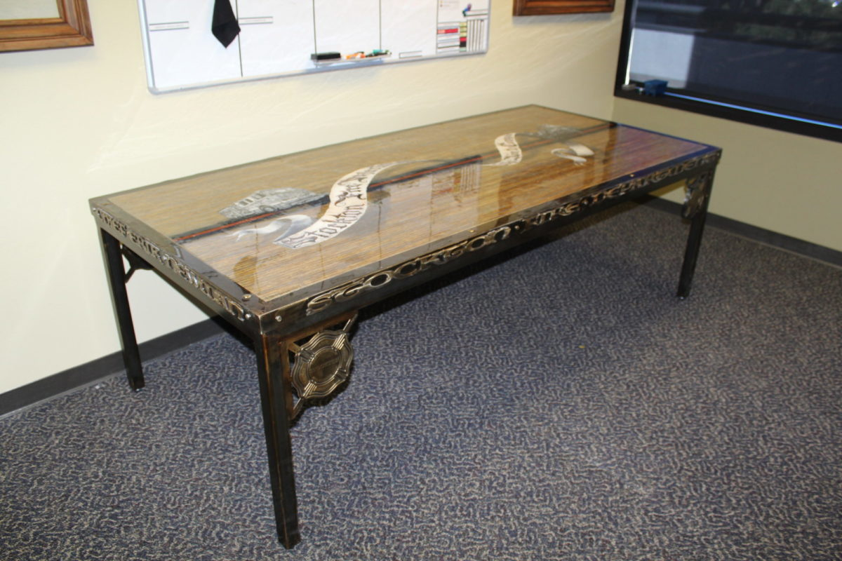 SFD Table- Public Service Pieces, Laced Up Metal Wall Art