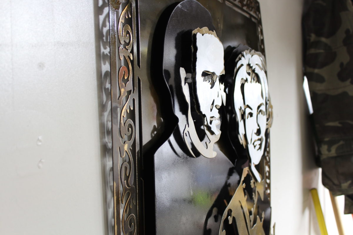 Gramma - Custom Portraits, Laced Up Metal Wall Art