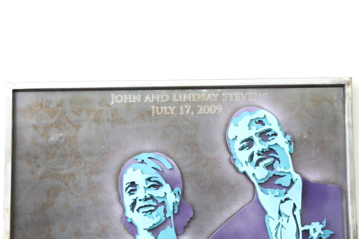 Stevens Bride & Groom - Custom Portraits, Laced Up Metal Wall Art