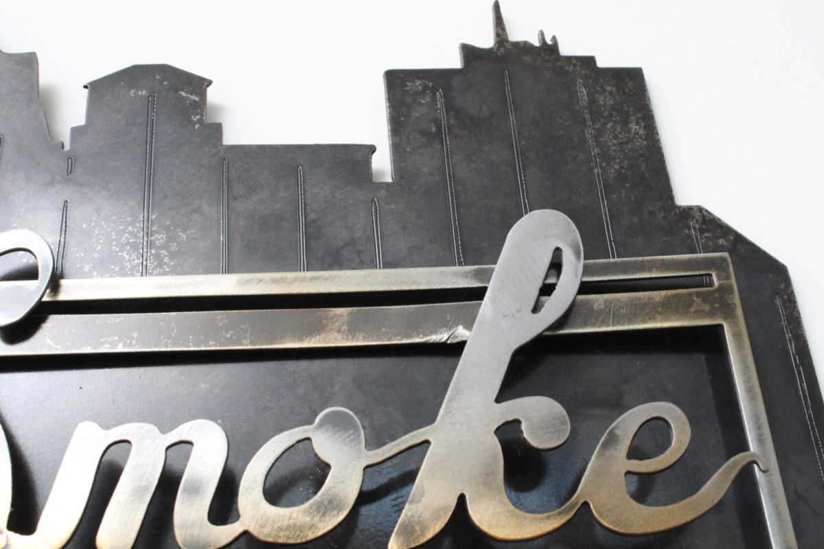 Black Smoke Apparel Business Sign - Laced Up Metal