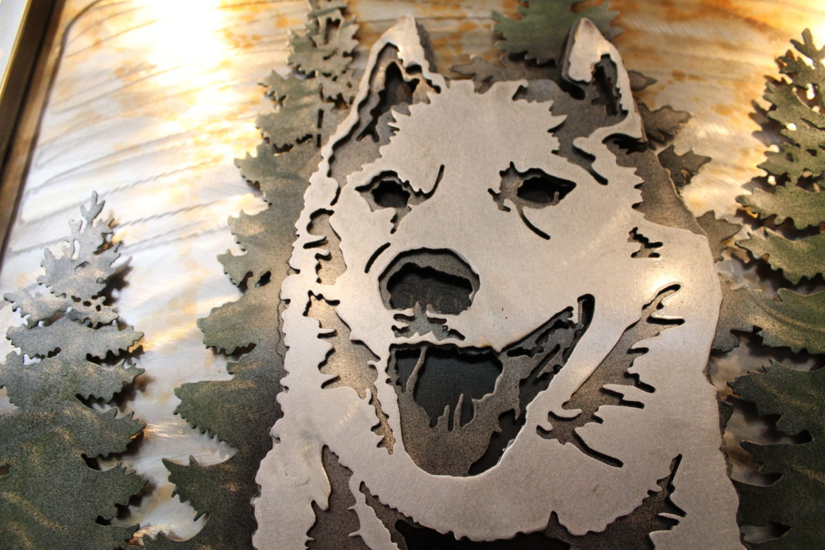 Husky - Custom Portraits, Laced Up Metal Wall Art